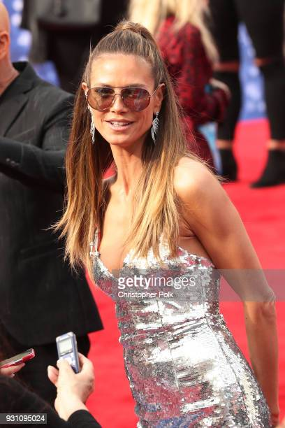 Heidi Klum speaks to fans at the red carpet kickoff for America's Got Talent season 13 at Pasadena Civic Auditorium on March 12 2018 in Pasadena...