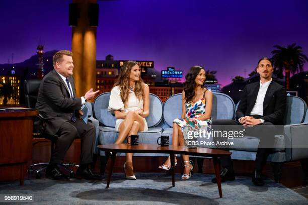Heidi Klum Thandie Newton and Zlatan Ibrahimovic chat with James Corden during 'The Late Late Show with James Corden' Wednesday May 9 2018 On The CBS...