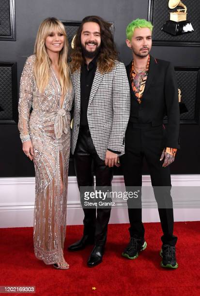 Heidi Klum Tom Kaulitz and Bill Kaulitz attend the 62nd Annual GRAMMY Awards at Staples Center on January 26 2020 in Los Angeles California