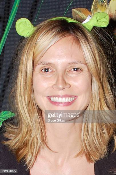 """Heidi Klum visits """"Shrek:The Musical"""" on Broadway at The Broadway Theater on July 11, 2009 in New York City."""