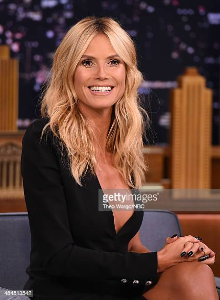 "Heidi Klum Visits ""The Tonight Show Starring Jimmy Fallon"" at Rockefeller Center on August 19, 2015 in New York City."