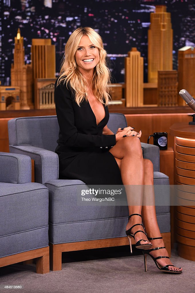 Heidi Klum Visits 'The Tonight Show Starring Jimmy Fallon' at Rockefeller Center on August 19, 2015 in New York City.