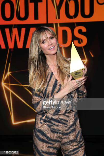 Heidi Klum with award during the 3rd ABOUT YOU Awards at Bavaria Studios on April 18, 2019 in Munich, Germany.