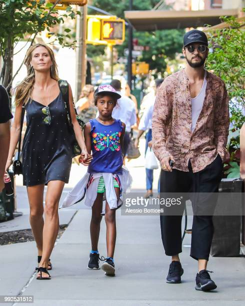 Heidi Klum with daughter Lou and Tom Kaulitz are seen in TriBeCa on July 5, 2018 in New York, New York.