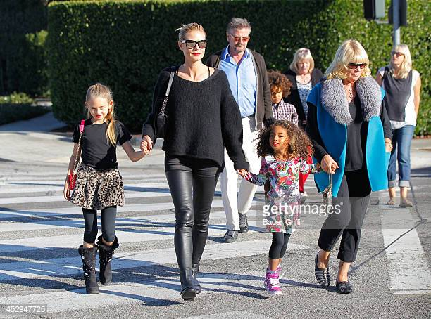 Heidi Klum with daughters, Leni Klum and Lou Klum with mother, Erna Klum and father, Gunther Klum are seen on December 01, 2013 in Los Angeles,...