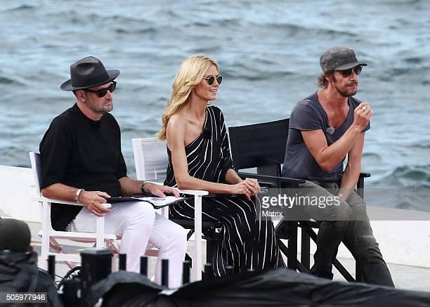 Heidi Klum with fellow Next Top Model judges Thomas Hayo and Michael Michaelsky on January 21 2016 in Sydney Australia