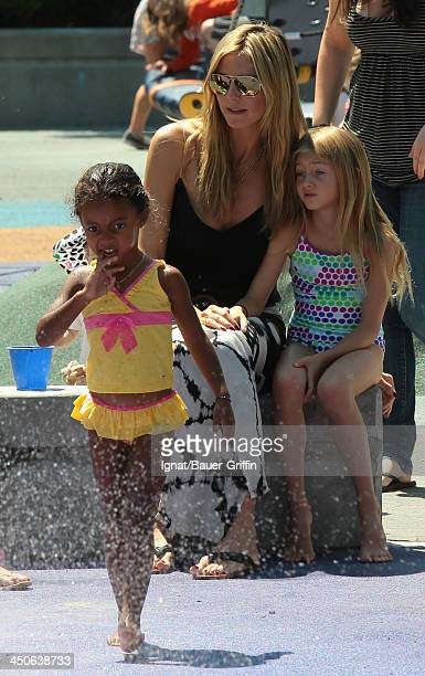 Heidi Klum with her children Leni Samuel and Lou Samuel are seen on June 21 2013 in New York City
