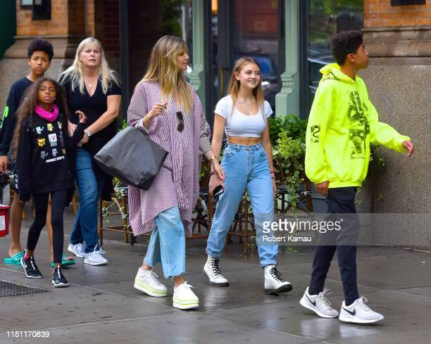 Heidi Klum with her kids and nanny are seen walking in Manhattan on June 20 2019 in New York City