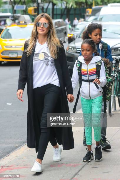 Heidi Klum with her kids Johan and Lou Samuel are seen on June 27 2018 in New York City