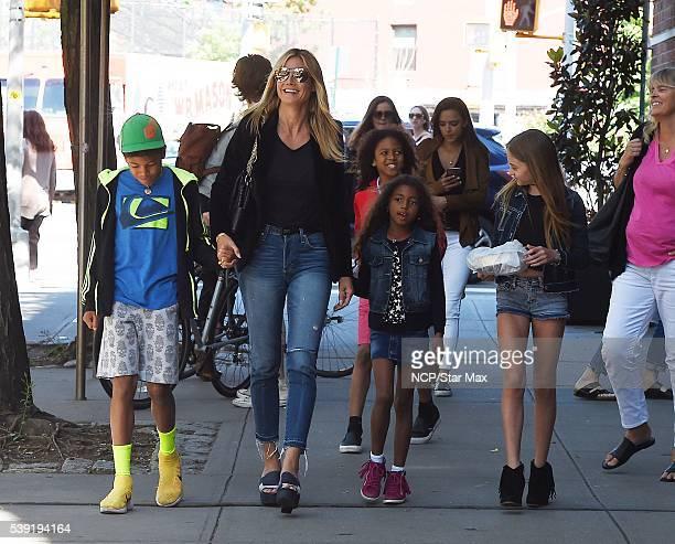 Heidi Klum with her kids son Henry Samuel son Johan Samuel daughter Helene Samuel and daughter Lou Sulola Samuel are seen on June 9 2016 in New York...