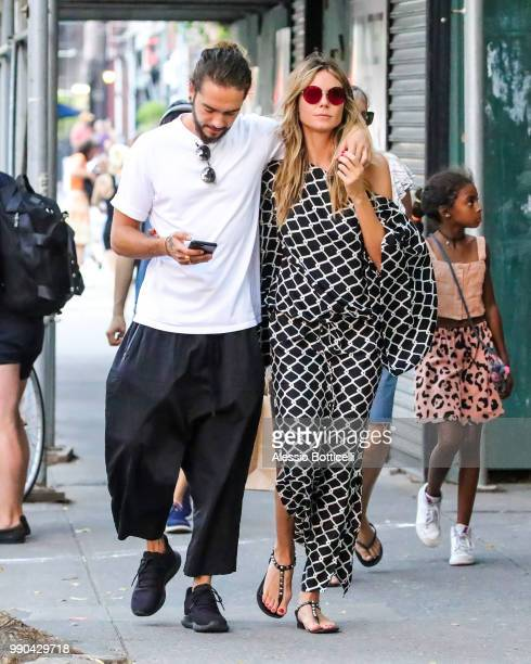 Heidi Klum with Tom Kaulitz and daughter Lou Samuel are seen in TriBeCa on July 2 2018 in New York New York