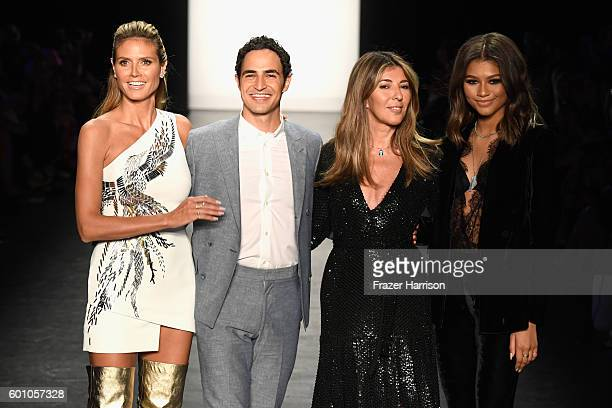 Heidi Klum Zac Posen Nina Garcia and Zendaya Coleman greet the audience at the Project Runway fashion show during New York Fashion Week The Shows at...