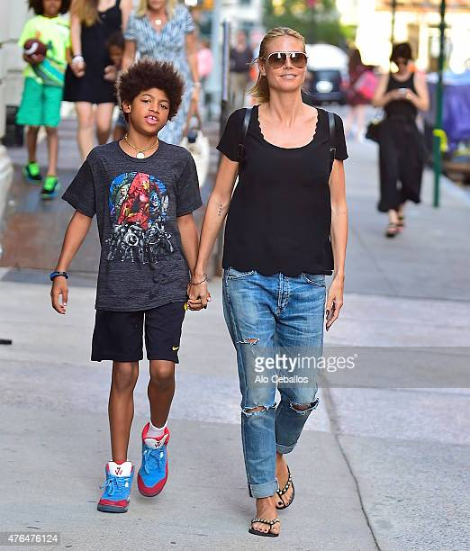 Heidi KlumHenry Gunther Ademola Dashtu Samuel are seen in Tribeca on June 9 2015 in New York City