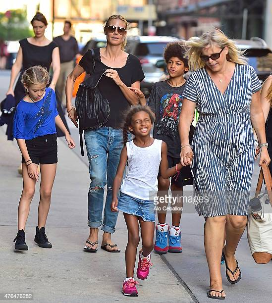 Heidi Klum,Henry Gunther Ademola Dashtu Samuel,Helene Boshoven Samuel are seen in Tribeca on June 9, 2015 in New York City.