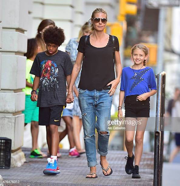 Heidi KlumHenry Gunther Ademola Dashtu SamuelHelene Boshoven Samuel are seen in Tribeca on June 9 2015 in New York City