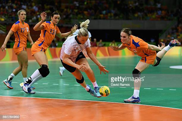 Heidi Loke of Norway in action during the Women's Handball Bronze medal match between Netherlands and Norway at Future Arena on Day 15 of the Rio...