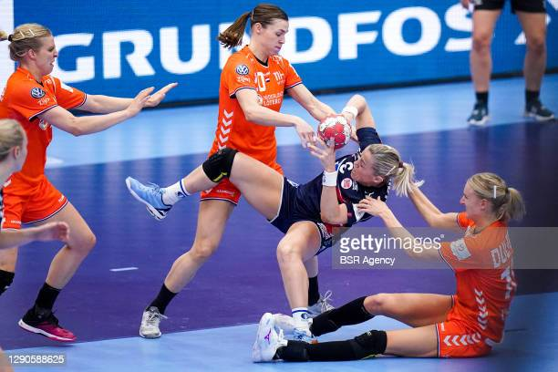 Heidi Loke of Norway, Inger Smits of Netherlands, Kelly Dulfer of Netherlands during the Women's EHF Euro 2020 match between Netherlands and Norway...