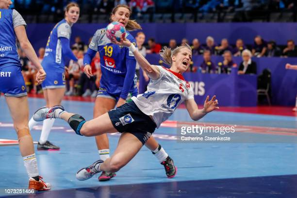 Heidi Loke of Norway shoots the ball on target during the EHF Euro match for the classification 56 between Sweden and Norway at AccorHotels Arena on...
