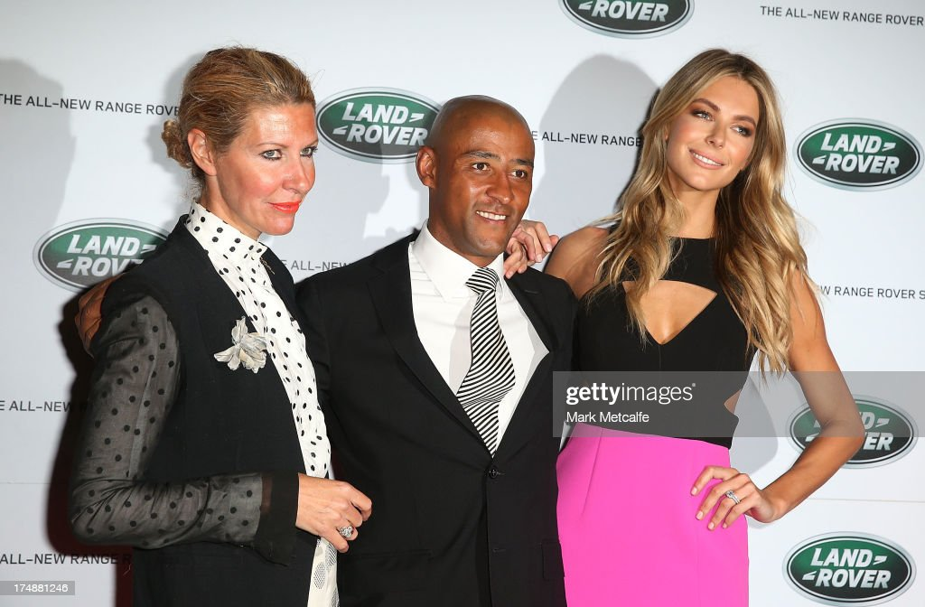 Heidi Middleton, George Gregan and Jennifer Hawkins arrive at a Range Rover Sport launch event at the Overseas Passenger Terminal on July 29, 2013 in Sydney, Australia.