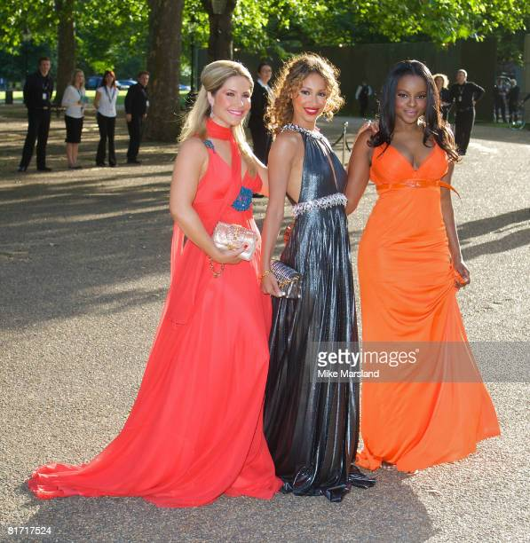 Heidi Range Amelle Berrabah and Keisha Buchanan of The Sugababes arrive at the Dinner In Honour Of Nelson Mandela at Hyde Park on June 25 2008 in...