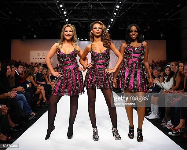 Heidi Range Amelle Berrabah and Keisha Buchanan of the Sugababes take part in Fashion For Relief at the Natural History Museum September 17 2008 in...