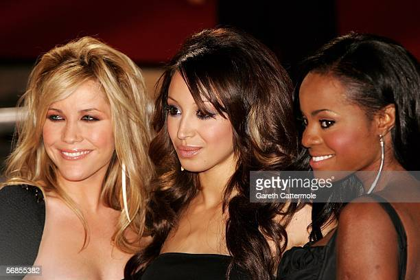 Heidi Range Amelle Berrabah and Keisha Buchanana of The Sugababes arrive at The Brit Awards 2006 with MasterCard at Earls Court 1 on February 15 2006...