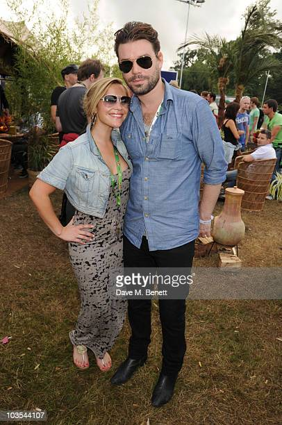 Heidi Range and Dave Berry pose for a photograph in the official VIP backstage area hosted by Mahiki during Day Two of V Festival 2010 on August 22...