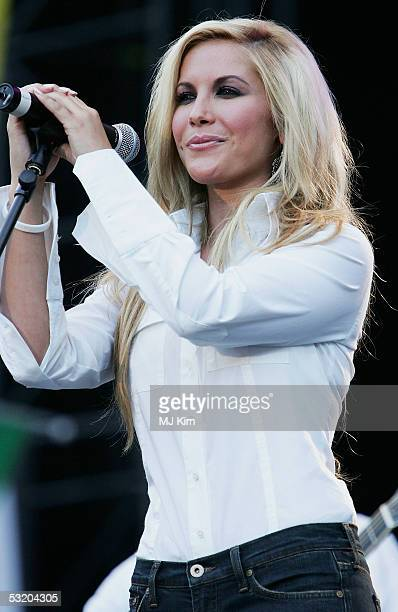Heidi Range from the Sugababes is seen performing at Live 8 Edinburgh concert at Murrayfield Stadium on July 6 2005 in Edinburgh Scotland The free...