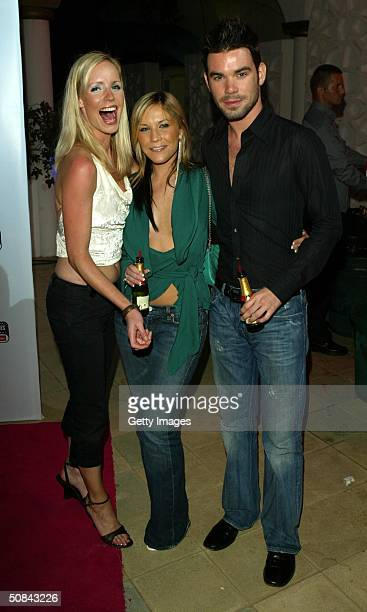 Heidi Range from the Sugababes with boyfriend Dave Berry and Daily Star reporter Leigh from TRL MTV attends the 'MTV Party' at the MTV Villa on May...