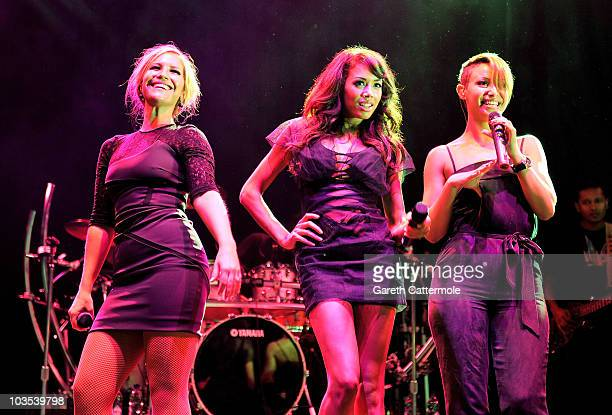 Heidi Range Jade Ewen and Amelle Berrabah of Sugababes perform during Day two of V Festival 2010 on August 22 2010 in Chelmsford England
