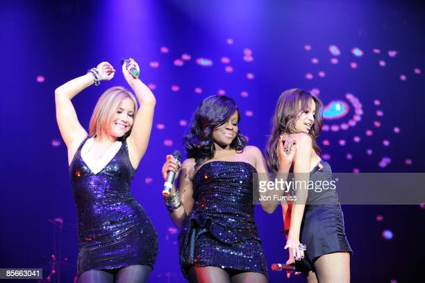 ACCESS *** Heidi Range Keisha Buchanan and Amelle Berrabah of the Sugababes performs on stage during the Capital FM Jingle Bell Ball held at the 02...