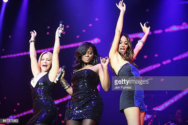 LONDON DECEMBER 10 Heidi Range Keisha Buchanan and Amelle Berrabah of the Sugababes perform during the show at Capital FM's Jingle Bell Ball held at...