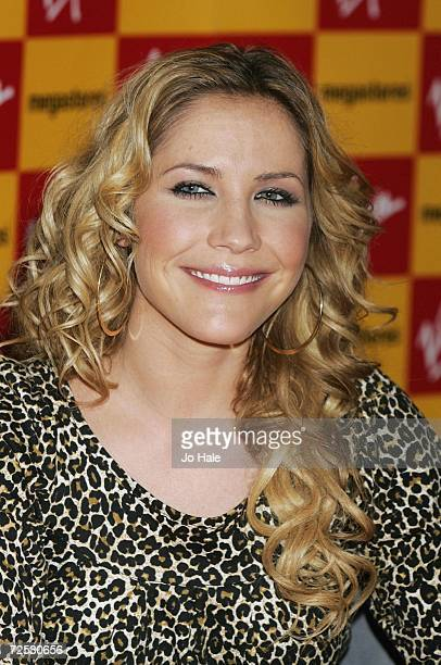 Heidi Range of the Sugababes poses at the Virgin Megastore on Oxford Street for the launch of their new album 'Overloaded The Singles Collection' on...