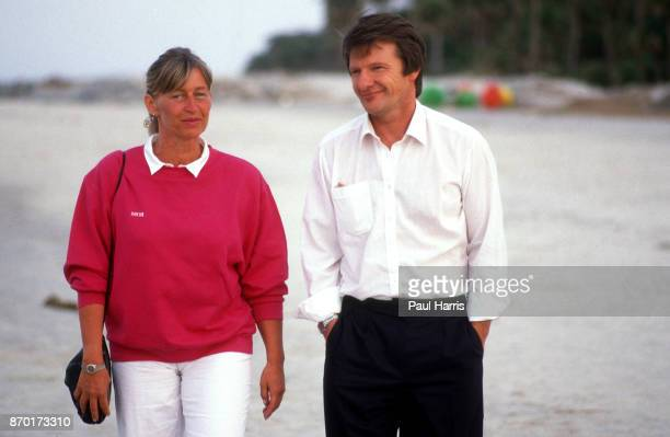Heidi Schalk and Peter Graf the parents of Steffi Graf photographed March 20 1985 on Delray Beach Florida