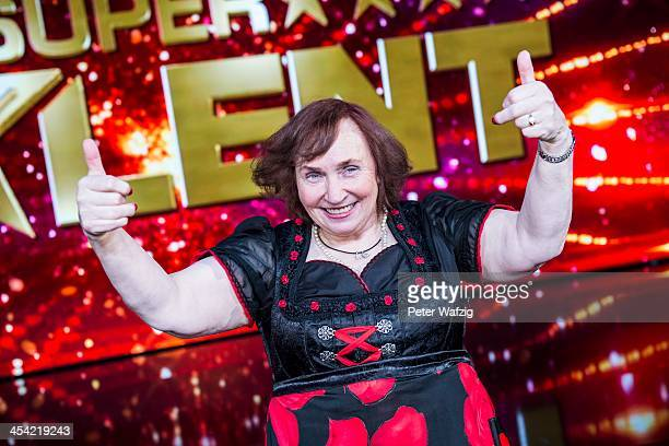 Heidi Schimiczek posing for a photo after the second Semifinal of 'Das Supertalent' TV Show on December 07 2013 in Cologne Germany