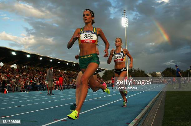 Heidi See of Australia runs in the Mixed Distance Medley during the Melbourne Nitro Athletics Series at Lakeside Stadium on February 11 2017 in...
