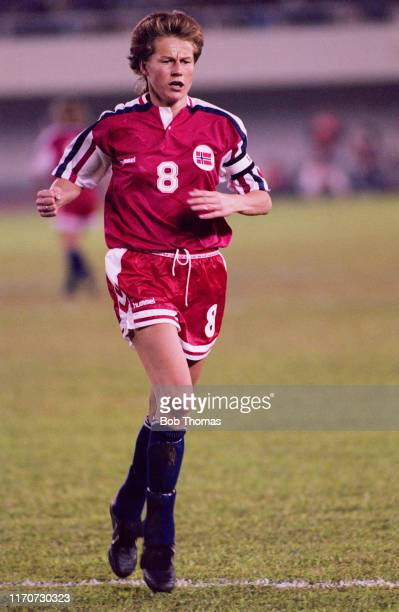 Heidi Store of Norway in action during play in the final of the 1991 FIFA Women's World Cup between Norway and the United States at the Tianhe...