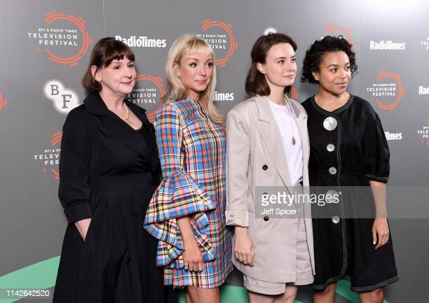 Heidi Thomas Helen George Jennifer Kirby and Leonie Elliott attend the Call The Midwife photocall during the BFI Radio Times Television Festival 2019...