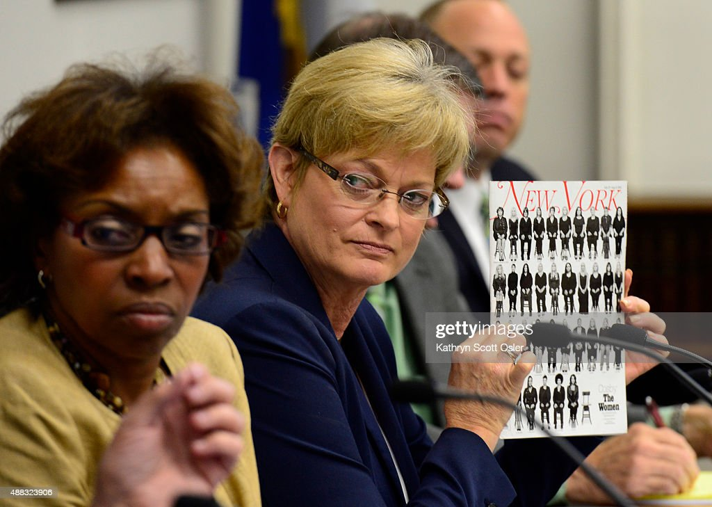 Accusers in the sexual assault case against Bill Cosby join Rep. Rhonda Fields in a stakeholders meeting inside the Colorado State Capitol in Denver. : News Photo