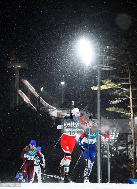 Heidi Weng of Norway and Sadie Bjornsen of United States compete during the CrossCountry Ladies' Sprint Classic Quarterfinal four on day four of the...