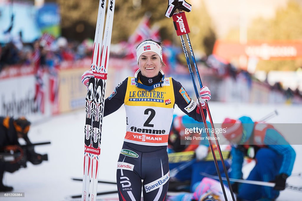 Heidi Weng of Norway celebrates after the victory during the women's 9 km F Pursuit on January 8, 2017 in Val di Fiemme, Italy.