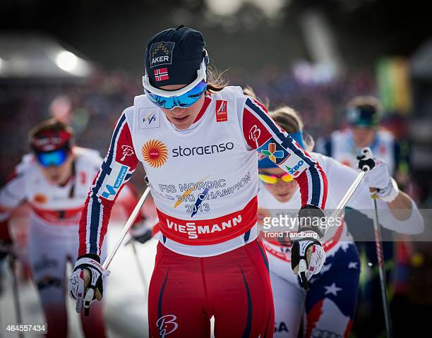 Heidi Weng of Norway competes during the Ladies 4 x 50 km Relay Classic/Free during the FIS Nordic World Ski Championships at the Lugnet venue on...