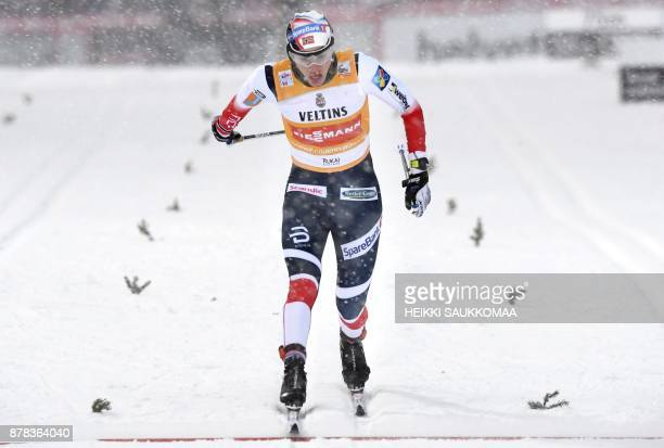 Heidi Weng of Norway competes in the quarterfinal of the women's Sprint Classic at the Ruka Nordic World Cup event in Ruka Kuusamo in Northern...