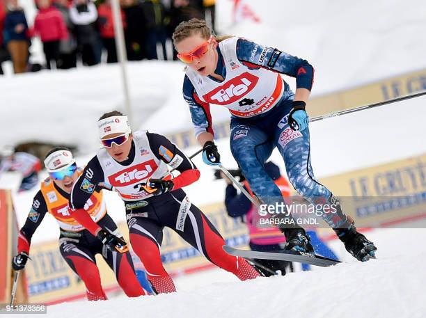 Heidi Weng of Norway, Ingvild Flugstad Oestberg of Norway and Jessica Diggins of the USA compete during the Ladies FIS Cross Country 10 km Mass Start...
