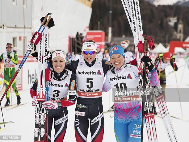 Heidi Weng of Norway Ingvild Flugstad Oestberg of Norway and Krista Parmakoski of Finland after the women's 5 km C mass start race on January 1 2017...