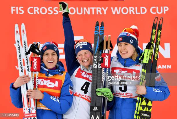 Heidi Weng of Norway Jessica Diggins of the USA and Ragnhild Haga of Norway react after the Ladies FIS Cross Country 10 km Mass Start World Cup on...