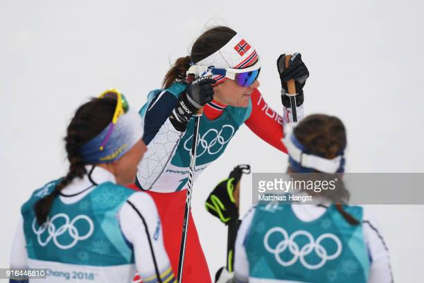 Heidi Weng of Norway looks on after the Ladies Cross Country Skiing 75km 75km Skiathlon on day one of the PyeongChang 2018 Winter Olympic Games at...