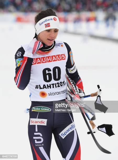 Heidi Weng of Norway reacts after the Women's 10km Cross Country during the FIS Nordic World Ski Championships on February 28 2017 in Lahti Finland
