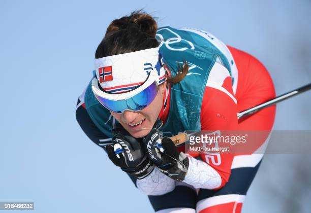 Heidi Weng of Norway skis during the CrossCountry Skiing Ladies' 10 km Free on day six of the PyeongChang 2018 Winter Olympic Games at Alpensia...