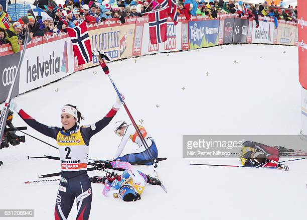Heidi Weng of Norway Stina Nilsson of Sweden Krista Parmakoski of Finland and Ingvild Flugstad Oestberg of Norway in the finishing area during the...